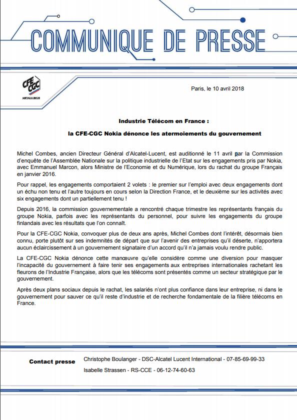 Industrie Télécom en France : la CFE-CGC Nokia dénonce les ...